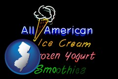 new-jersey a neon sign, advertising ice cream, frozen yogurt, and smoothies