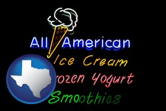 texas a neon sign, advertising ice cream, frozen yogurt, and smoothies