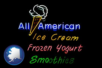 a neon sign, advertising ice cream, frozen yogurt, and smoothies - with Alaska icon