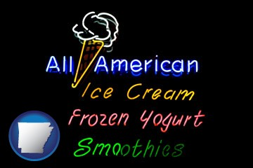 a neon sign, advertising ice cream, frozen yogurt, and smoothies - with Arkansas icon