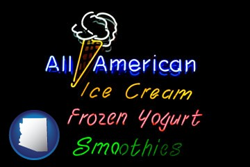 a neon sign, advertising ice cream, frozen yogurt, and smoothies - with Arizona icon
