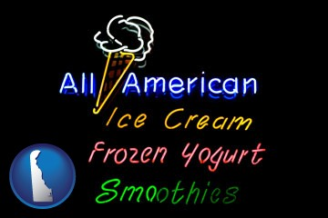 a neon sign, advertising ice cream, frozen yogurt, and smoothies - with Delaware icon