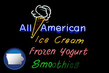 a neon sign, advertising ice cream, frozen yogurt, and smoothies - with Iowa icon