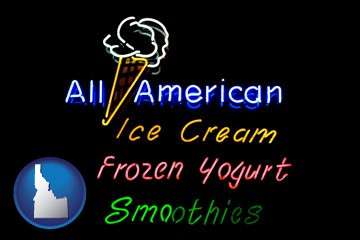 a neon sign, advertising ice cream, frozen yogurt, and smoothies - with Idaho icon