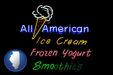 a neon sign, advertising ice cream, frozen yogurt, and smoothies - with Illinois icon