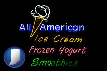 a neon sign, advertising ice cream, frozen yogurt, and smoothies - with Indiana icon