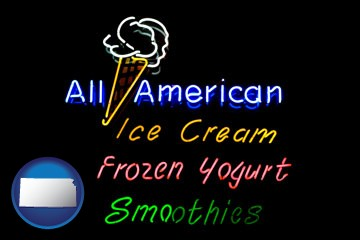 a neon sign, advertising ice cream, frozen yogurt, and smoothies - with Kansas icon
