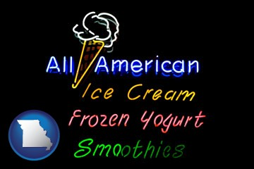 a neon sign, advertising ice cream, frozen yogurt, and smoothies - with Missouri icon