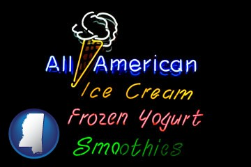 a neon sign, advertising ice cream, frozen yogurt, and smoothies - with Mississippi icon