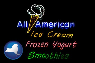 a neon sign, advertising ice cream, frozen yogurt, and smoothies - with New York icon
