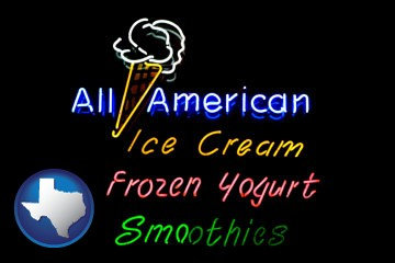 a neon sign, advertising ice cream, frozen yogurt, and smoothies - with Texas icon