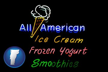 a neon sign, advertising ice cream, frozen yogurt, and smoothies - with Vermont icon