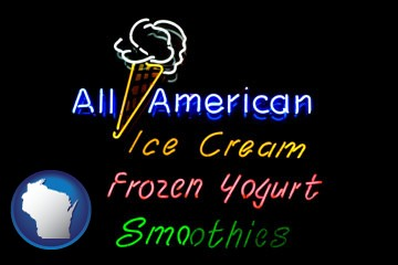 a neon sign, advertising ice cream, frozen yogurt, and smoothies - with Wisconsin icon