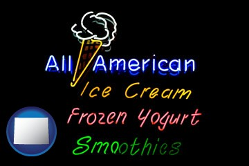 a neon sign, advertising ice cream, frozen yogurt, and smoothies - with Wyoming icon